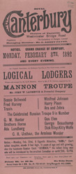 Poster announcing the change of company appearing at the Royal Canterbury Theatre of Varieties in February 1892